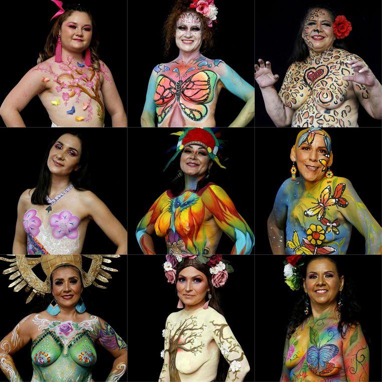 Op deze compilatie van foto's zijn vrouwen te zien die borstkanker hebben overleefd.  Ze poseren in het kader van 'A brushstroke for life', een project waar 52 overlevers aan meedoen – vrouwen én mannen –  en dat als doel heeft om de ziekte zichtbaar te maken.  Beeld AFP