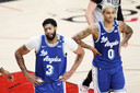 Lakers-spelers Anthony Davis en Kyle Kuzma balen.