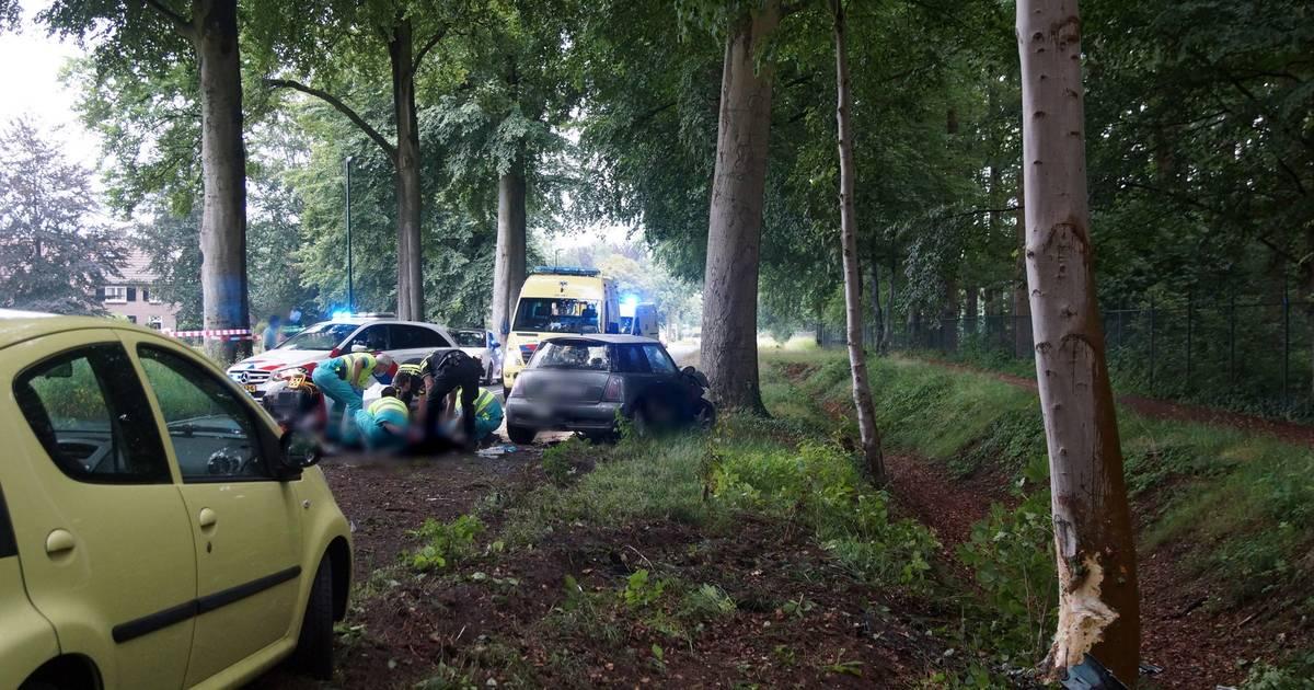 Twee gewonden bij botsing tegen boom in Loon op Zand, van wie één zwaargewond.