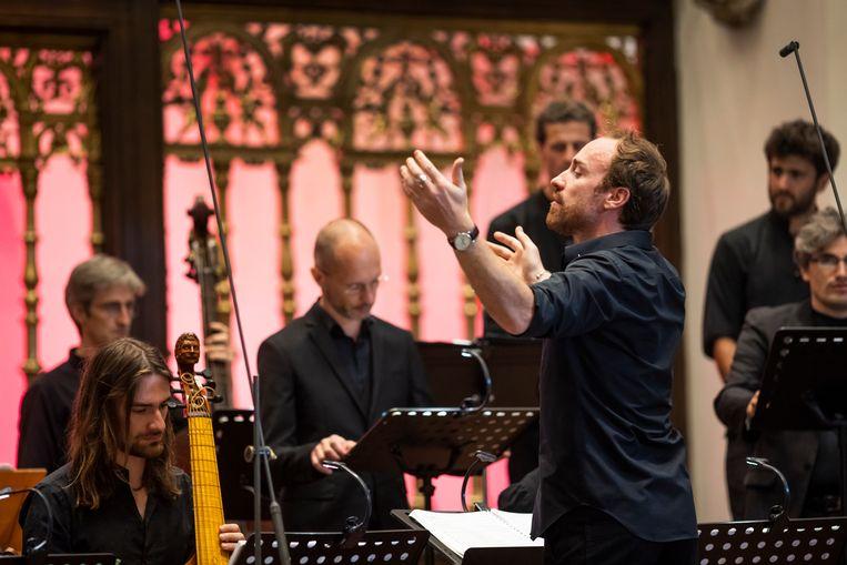 Het Franse ensemble La Tempête met muziek van Schütz en Schein in de Jacobikerk. Beeld Marieke Wijntjes