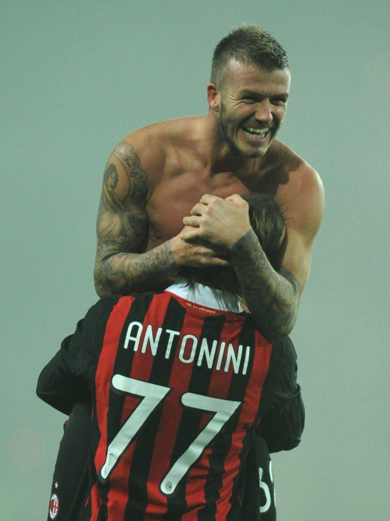 Beckham heeft zijn nieuwe intrede bij Milan niet gemist. Beeld UNKNOWN
