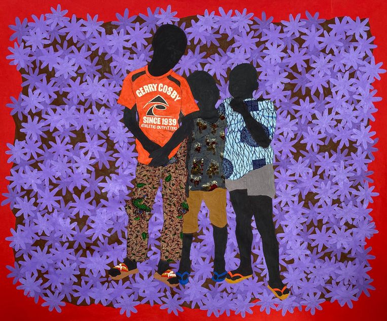 Raphael Adjetey Adjei Mayne, Untitled, 2020, acrylic, khaki and African waxprint on canvas, 168 x 205 cm. Beeld RAPHAEL ADJETEY ADJEI MAYNE