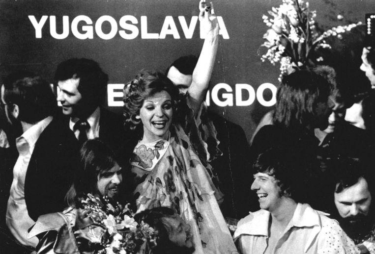 Uitbundige vreugde bij Teach in, na het winnen van het songfestival in 1975. Beeld ANP