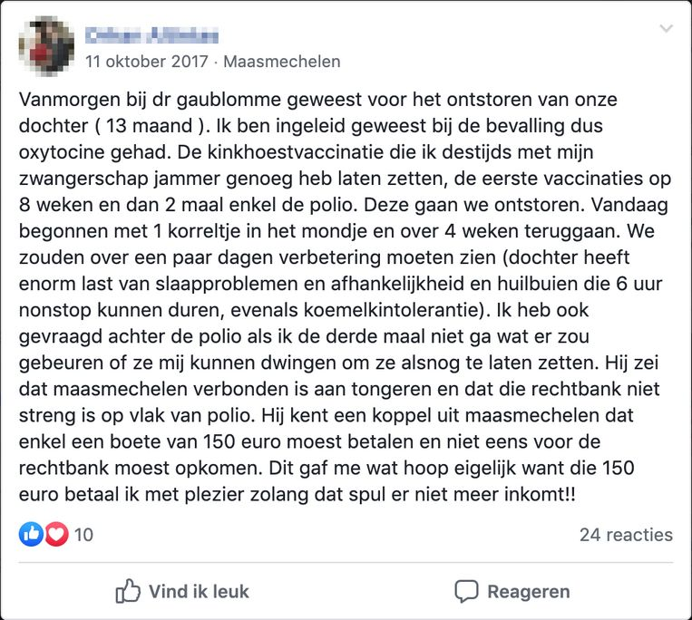 Een post op een antivaccingroep op Facebook. Beeld De Morgen