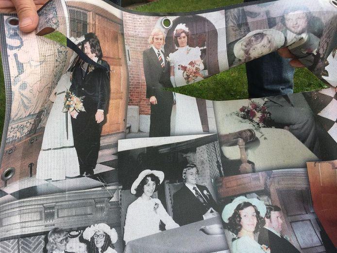 Het toegetakelde spandoek van de actie '400 Bruidsparen Stadhuis Klundert'