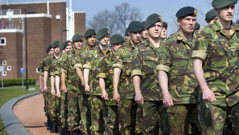Militairen van de Steveninck Kazerne in Oirschot. Beeld ANP