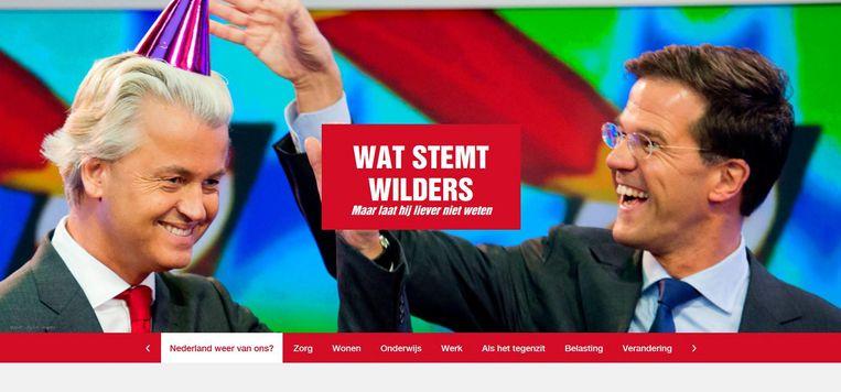 Screenshot van de website watstemtWilders.nl van de SP. Beeld screenshot