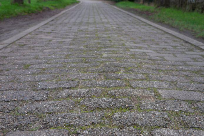 De vierkantige betonklinkers werden vervaardigd door de paters van de Abdij der Trappisten in Westmalle