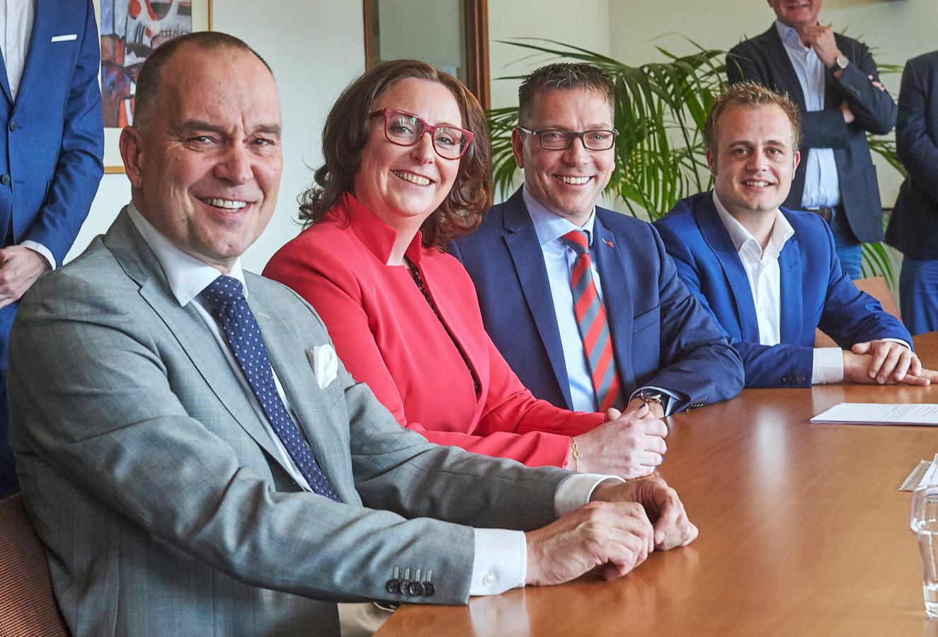 Het Udense college bij de start in 20218. Vlnr Maarten Prinssen, Ingrid Verkuijlen, Franco van Lankvelt en Gijs van Heeswijk.