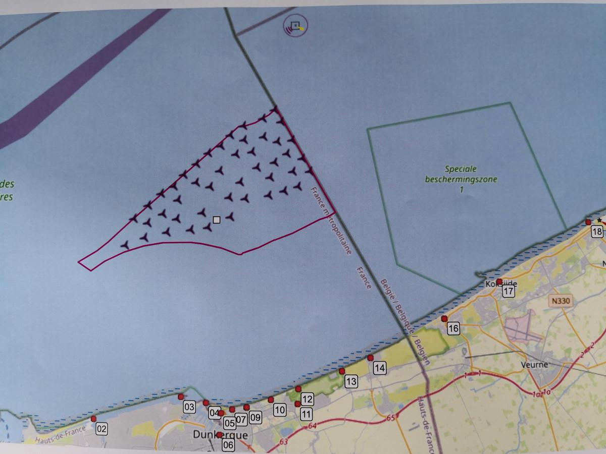 Hier zijn de 46 windmolens gepland.