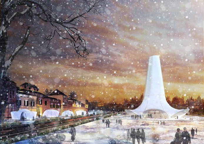 Het ontwerp van de Ice Flamenco Tower.