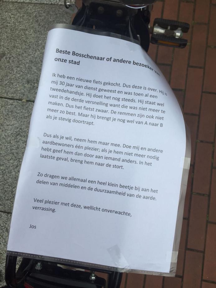 Het briefje dat bedoeld is voor de volgende eigenaar.