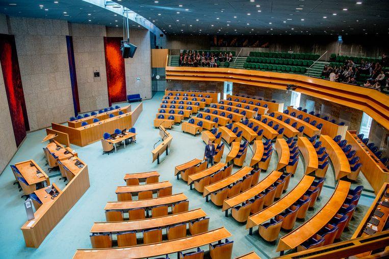 Een leeg overzicht van de Tweede Kamer Beeld ANP