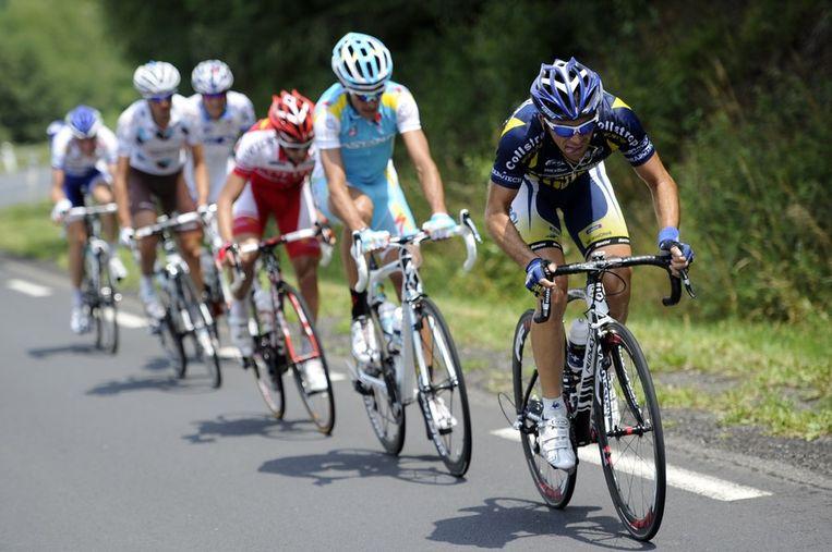 Marco Marcato van Vacansoleil rijdt vooraan de kopgroep. Beeld afp