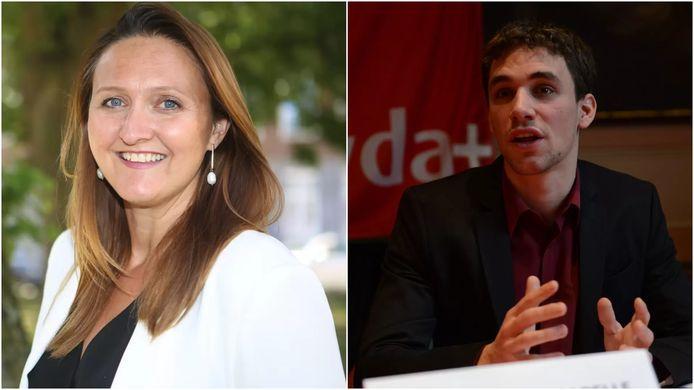Burgemeester Gwendolyn Rutten (Open Vld) en Sander Vandecappelle (PVDA)