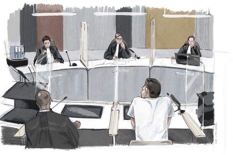Rechtbanktekening van Jos B., de man die wordt verdacht van betrokkenheid bij de dood van Nicky Verstappen.  Beeld ANP