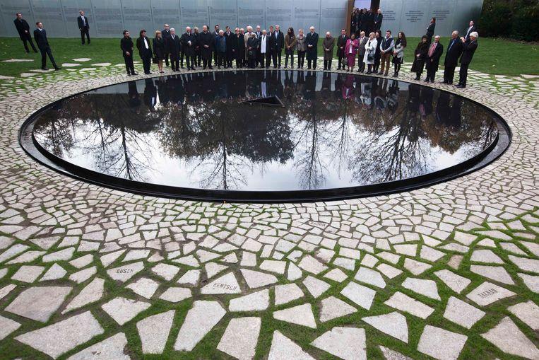 Karavans herdenkingsmonument voor de naar schatting half miljoen Sinti en Roma die door de nazi's zijn vermoord. Beeld AP
