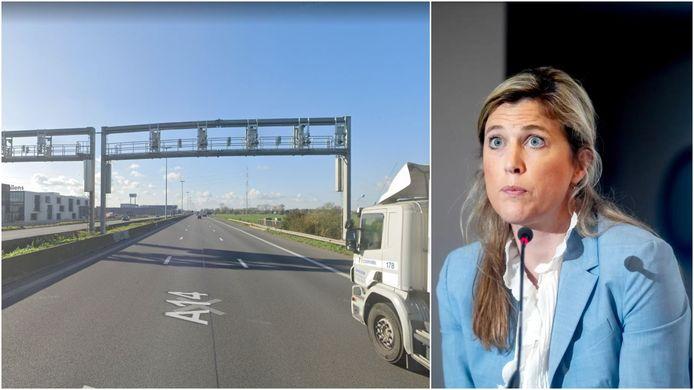 Links de start van de trajectcontrole op de E17, ter hoogte van de firma Callens in Waregem, richting Frankrijk. Rechts federaal minister van Binnenlandse Zaken Annelies Verlinden.
