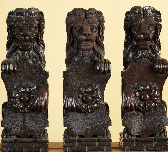 De leeuwtjes dragen een embleem met een roos, het symbool van de Tudors.