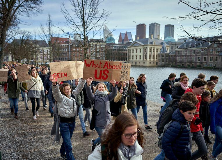 De klimaatmars in Den Haag waar zo'n 15.000 scholieren aan deelnamen.  Beeld Phil Nijhuis
