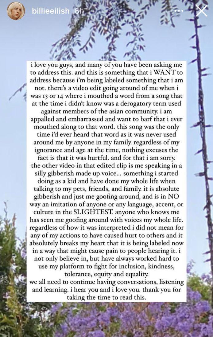 La chanteuse a présenté ses excuses dans une story sur son compte Instagram.