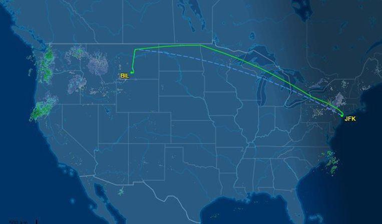 De ongewone tussenstop gebeurde zaterdag in het Amerikaanse Billings, tijdens een vlucht van New York naar Seattle.