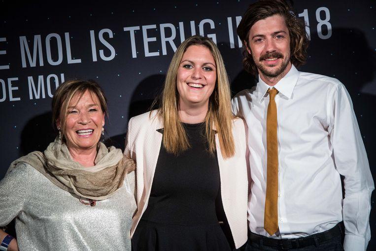 Annelies, Eline en Davey van 'De Mol'. Beeld Bas Bogaerts