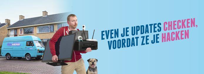 Een screenshot uit de nieuwe campagne 'doe je updates' van het ministerie van EZK.