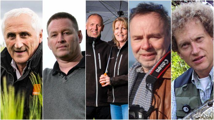 Turen naar de hemel, vlnr: landbouwer Freddy Van Assche, weerman Geert Naessens, melkboeren Luc Nouwen en Marina Geuens, weerfotograaf Johan Töpke en visser Bart Debaes.