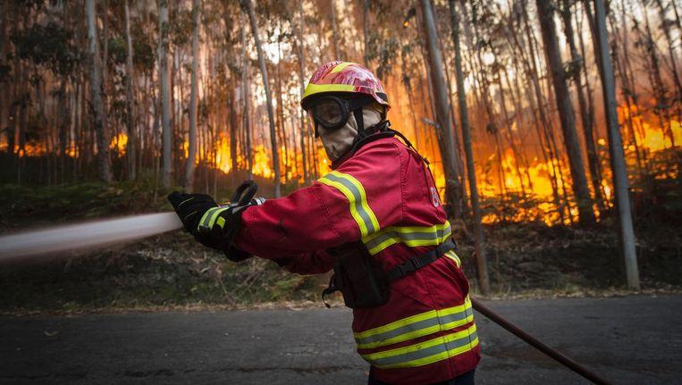 Een brandweerman aan het werk bij de plaats Mosteiro, in Noord-Portugal