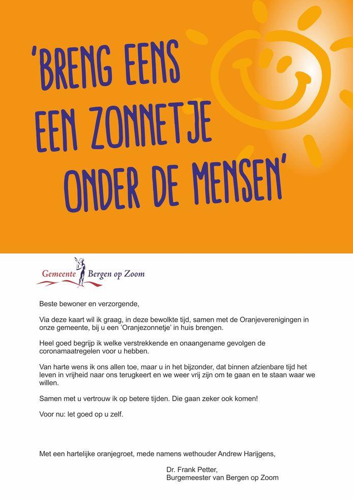 De Koningsdagkaart van burgemeester Frank Petter voor inwoners en verzorgden tehuizen in Bergen op Zoom.