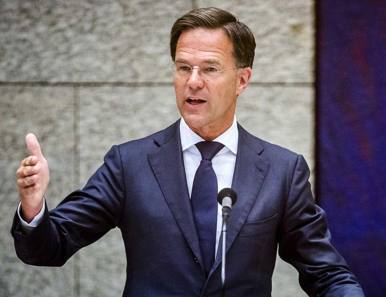 Premier Mark Rutte tijdens een plenair debat over de ontwikkelingen rondom het coronavirus. Beeld ANP