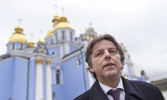 Minister Bert Koenders van Buitenlandse Zaken tijdens een bezoek aan de Oekraïense hoofdstad Kiev.