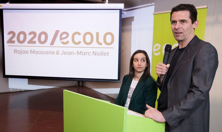 Ecolo-co-voorzitters Jean-Marc Nollet en  Rajae Maouane vanmiddag op de nieuwjaarsreceptie van hun partij. Beeld  Belga