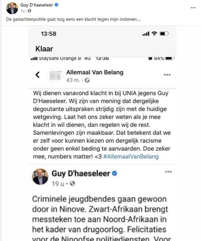 De Facebookpost van Guy D'haeseleer.