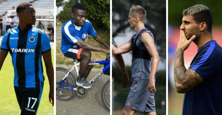 Vlnr: Limbombe (Club), Simon (Gent), Teodorczyk (Anderlecht) en Karelis (Genk)