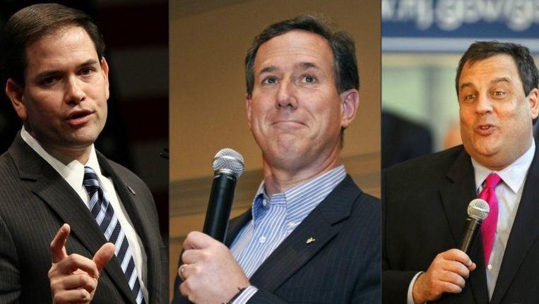 Marco Rubio, Rick Santorum en Chris Christie. Beeld UNKNOWN