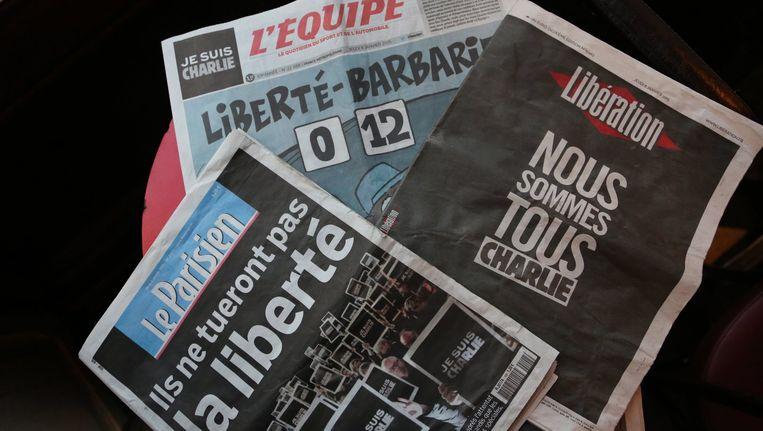 Franse kranten na de aanslag op Charlie Hebdo: voor de persvrijheid.