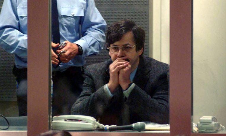 Marc Dutroux in 2004 in de rechtbank. Beeld EPA