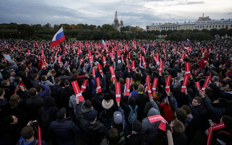 Aanhangers van oppositieleider Navalny tijdens een protest begin deze maand.  Beeld REUTERS
