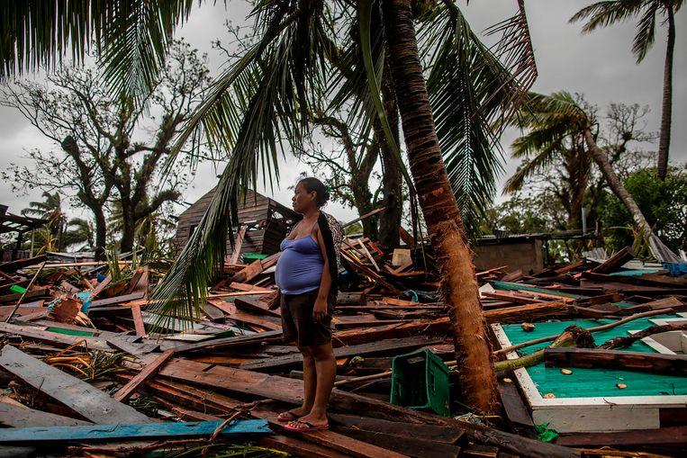 De orkaan Iota heeft zeker 21 levens geëist. Ook is er veel schade aan huizen, zoals hier in Nicaragua.  Beeld AFP