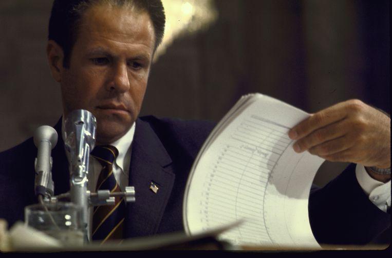 Stafchef H. R. Haldeman wordt gehoord tijdens het Watergate-proces. Beeld Getty