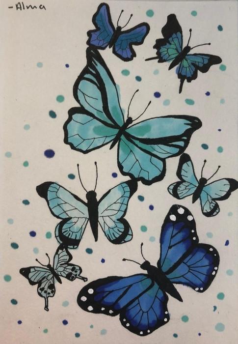 'Vlinders met verschillende kleuren blauw voor opa en oma'