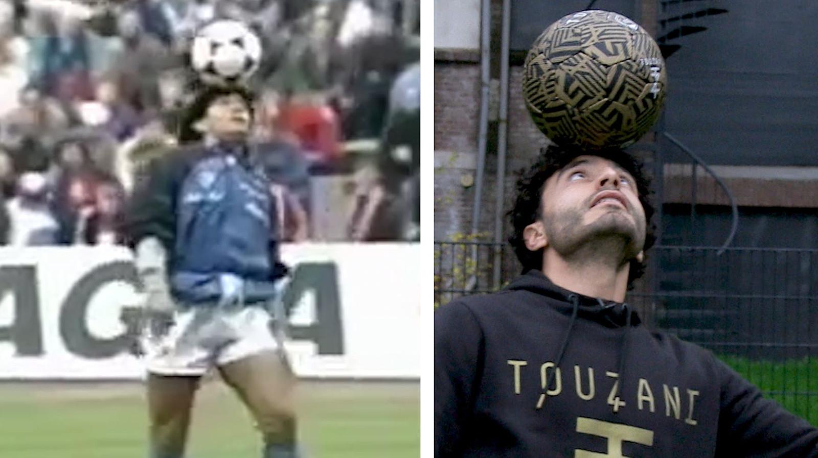Diego Maradona en Soufiane Touzani.