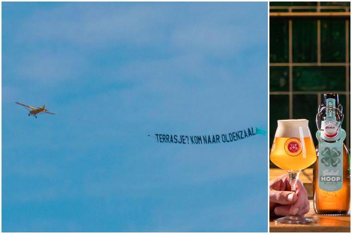 Het nieuwe biertje van Grolsch (rechts) en een opvallend vliegtuigje (links)