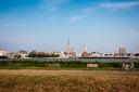 De skyline van Antwerpen vanop Linkeroever.