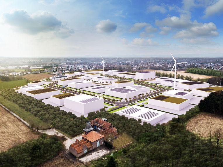 Een toekomstbeeld van het nieuwe bedrijventerrein Doorn Noord in Ninove.