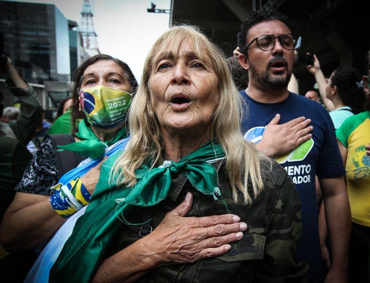 Protestactie tegen vaccinatieplicht in São Paulo. Beeld Getty Images
