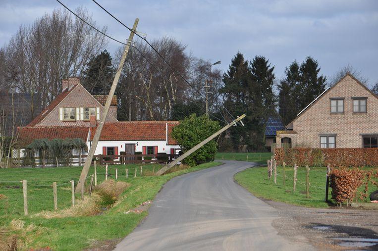 In Assenede moesten de Planterijstraat en de Krekelmijt afgesloten worden omdat elektriciteitspalen er waren omgewaaid.