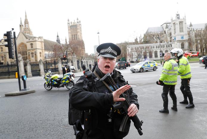 Bijzonder: een Britse bewapende agent houdt iedereen in de omgeving van Westminster Abbey tegen.